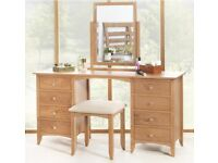 Modern Like-new Solid Oak Desk / Dressing Table with Mirror & Cushion