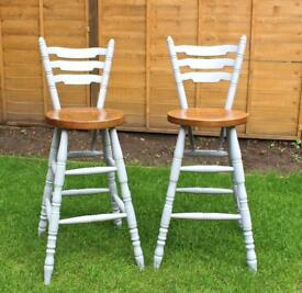 Vintage Shabby Chic Painted Bar Stools