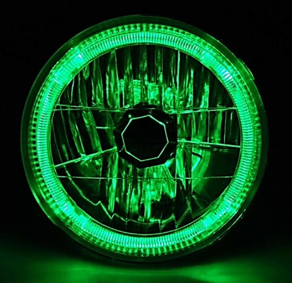 "7"" H6024 / 6014 Halogen Green Led Halo Ring H4 Light Bulb"