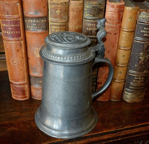 Antique Pewter German Stein Tankard Relief Design Figural Handle Hallmarked