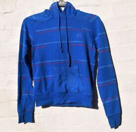 """DC X-Small Ladies or Men's Mid-Blue with Stripes Fitted Skating Hoodie C36"""""""