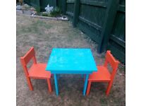 Kids table & 2 chairs (wooden)