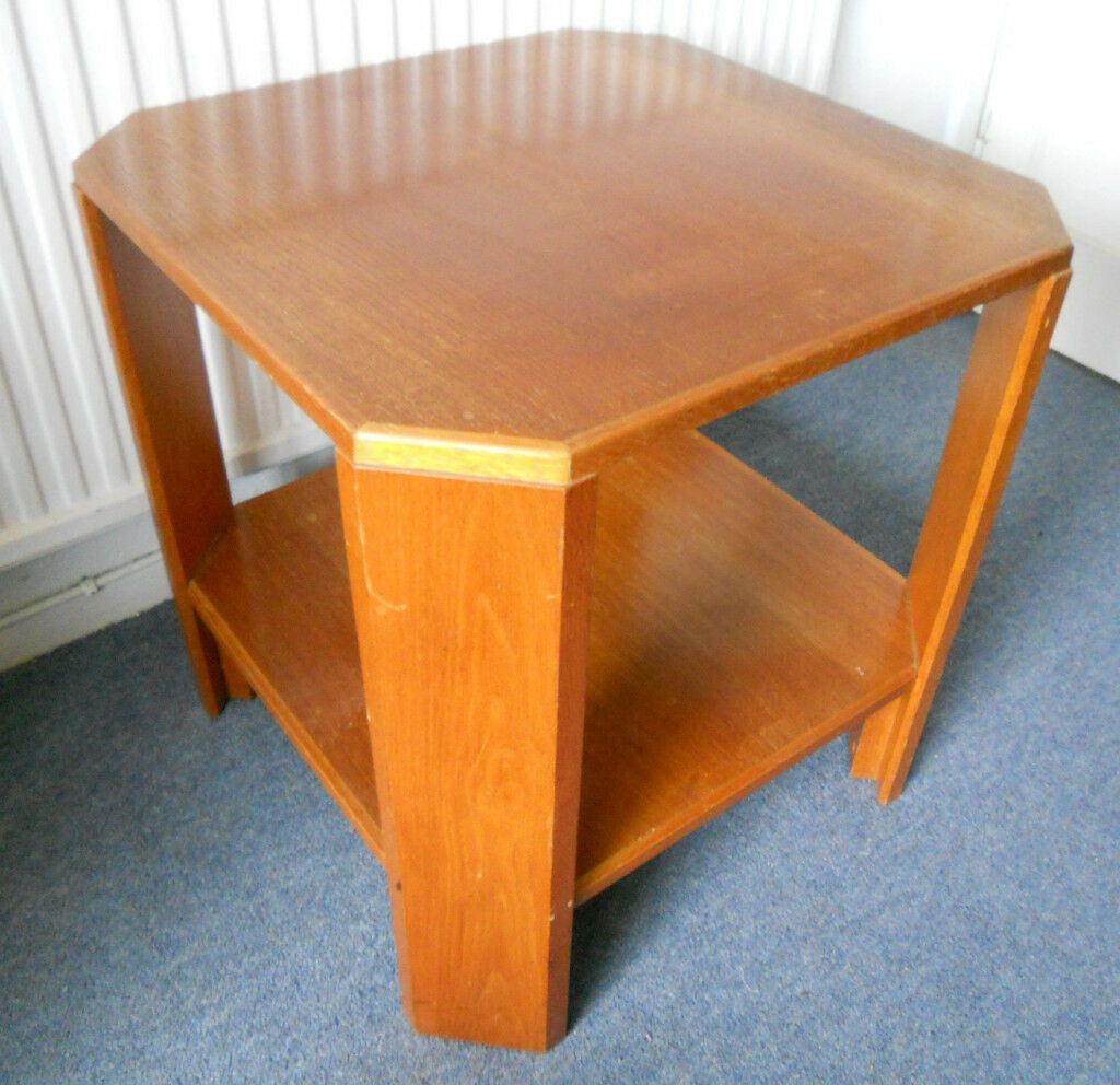 Oak Side Table Or Lamp With Shelf