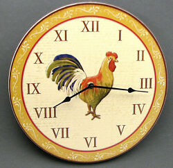 Round Wood Colorful Rooster  Wall Clock Country Kitchen Wall Decor 11 3/4 wide