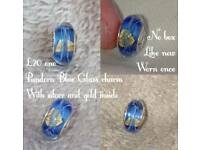 Pandora Blue Glass charm with silver and gold inside
