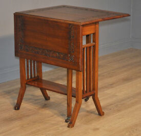 Attractive Small Antique Victorian Sutherland Carved Walnut Drop Leaf Side Table