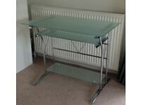 Glass desk with pull out keyboard shelf