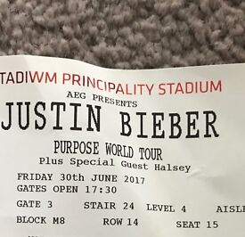 X2 Justin Bieber Tickets for Cardiff this Friday
