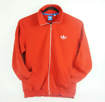 Mens 2XL - Adidas Full Zip Up Sweater Red & White Long Sleeved Athletic Jacket