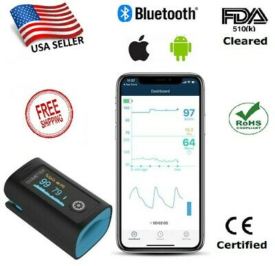 Fingertip Pulse Oximeter With Bluetooth Heart Rate And Oxygen Monitor
