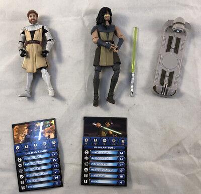 """2008-10 Hasbro Star Wars 3.75"""" Galactic Battle Game Quinlan Vos & Obi-wan Kenobi"""