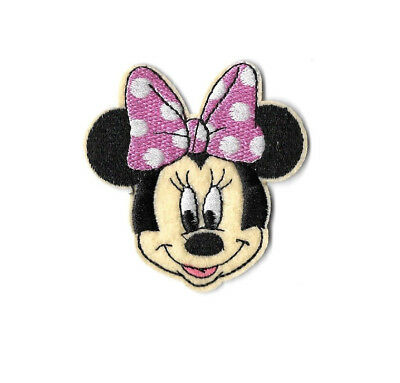 Minnie Mouse - Cartoon - Pink & White Bow - Embroidered Iron On Patch B Minnie Mouse Cartoons