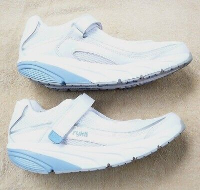 Womens Relief (Ryka Womens Relief Mary Jane Toning Walking Shoe, White/Blue size 9 M NEW)