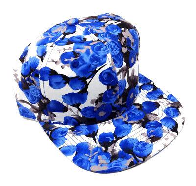 WHITE BLUE BLACK FLORAL SNAPBACK HAT CAP HAWAIIAN PRINT HAWAII FLAT BILL -