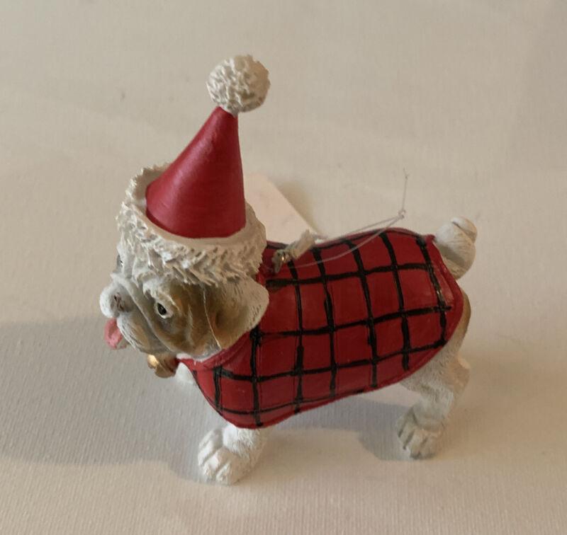 English Bulldog In Coat Christmas Ornament