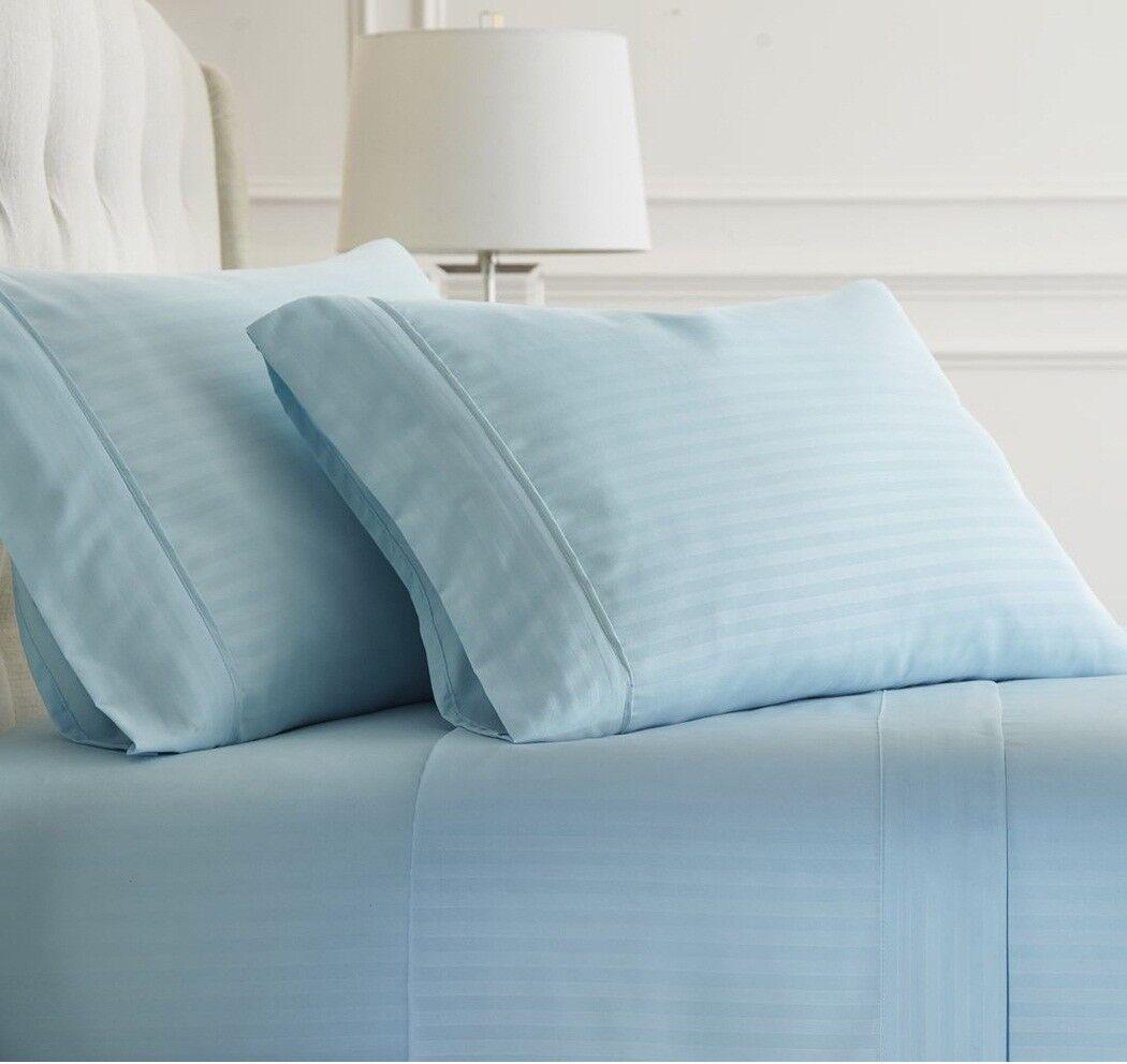 Luxurious Bedding Set Light Blue Stripe 1000 TC Pure Cotton