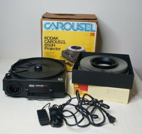 Kodak Carousel 650-H slide projector W/ Original Box 140 Slide Carousel & Remote