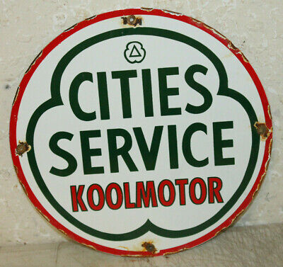 Cities Service Gasoline Motor Oil Vintage Style Porcelain Signs Gas Pump Plate