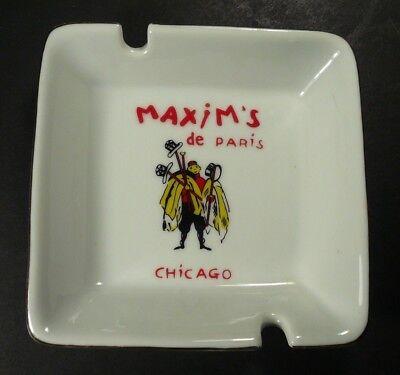Vintage Maxim's de Paris Chicago Porcelain Ashtray Souvenir Excellent Condition
