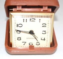 WESTCLOX Folding Travel Alarm Clock With Brown Case