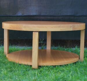 Scandinavian style round timber coffee table