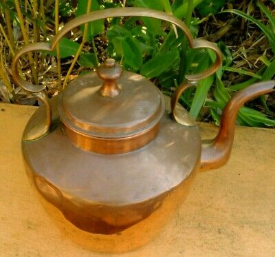 VINTAGE OLD COPPER KETTLE - RUSTIC SHABBY CHIC KITCHEN DECOR