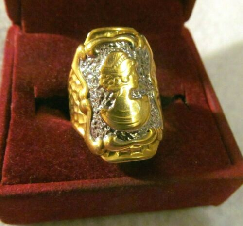 Pretty VICTORIAN  CHUNKY CAMEO WIDE SILVER GOLD  RING  *