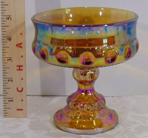 Indiana Kings Crown Amber Carnival Glass Compote
