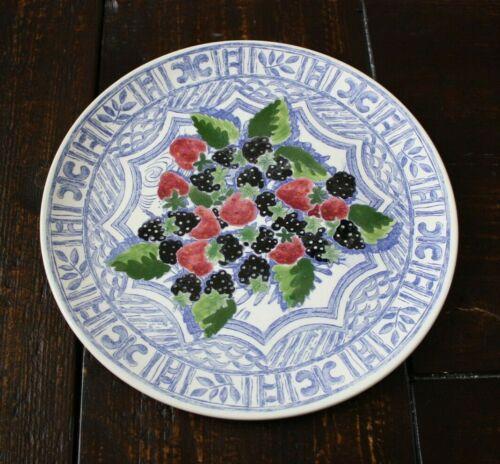 "Gien France OISEAU FRUIT Round Serving Plate Strawberries and Blackberries 12"""