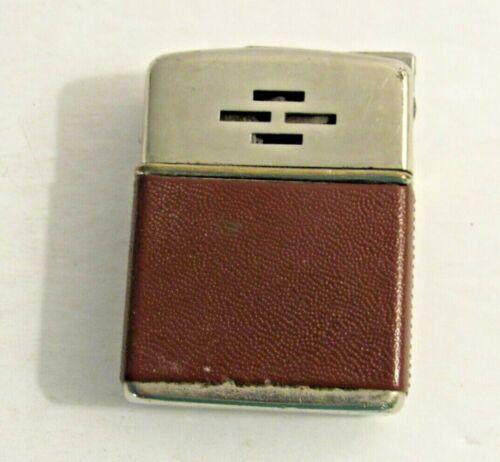 Vintage Cigarette Tobaco Lighter Champ-O-Matic Austria w/ Brown Leather Wrap