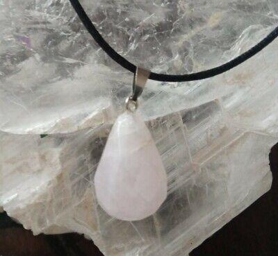 colgante piedra cuarzo rosa cristal mil caras con cordón unisex hombre mujer
