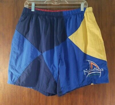 Mens Nautica Bermuda Blue And Yellow Swim Trunks Size Large EUC