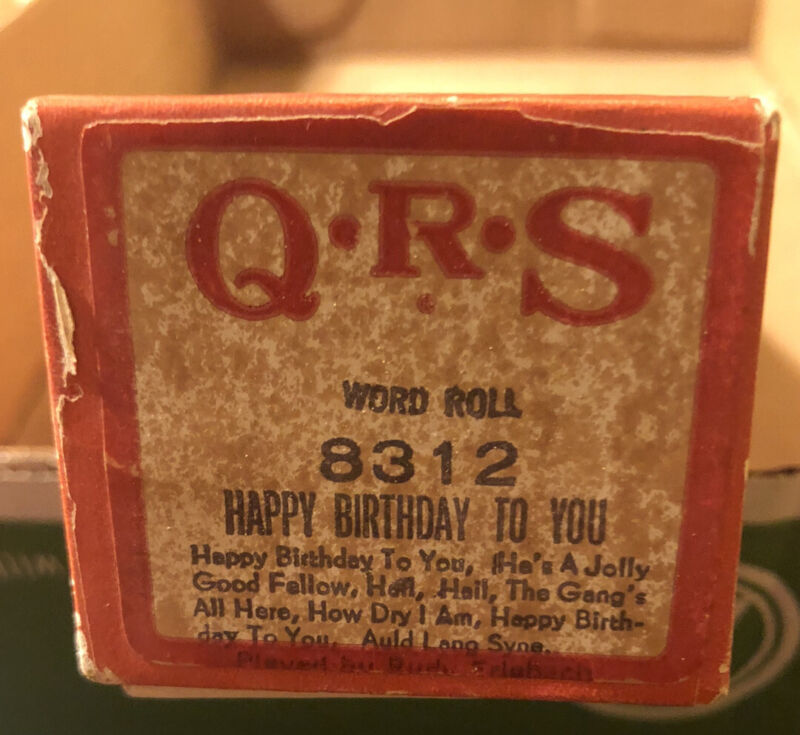 QRS Happy Birthday To You Plus Extras Word Roll #8312 *RARE FIND**