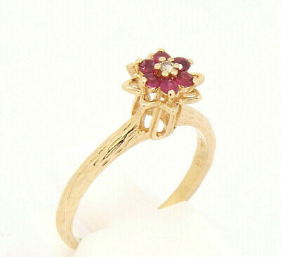 ViNtage Retro 10K Solid Yellow Gold Ruby & Diamond Tulip Stacking Ring Sz 6 Yellow Gold Tulip