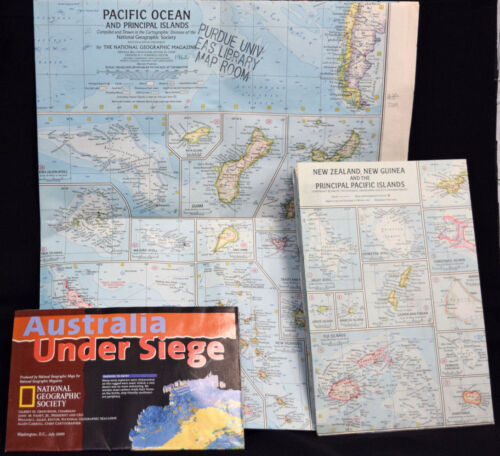 Maps Australia Pacific Ocean Principal Islands New Zealand Guinea 1960s-2000