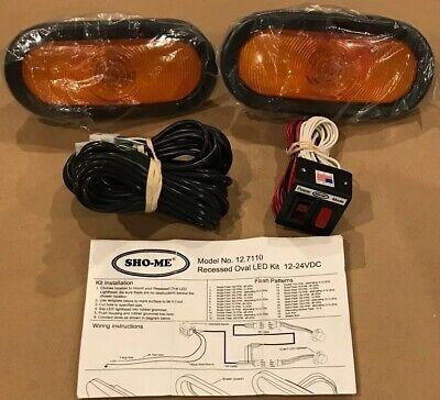 Sho-me Warning Emergency Vehicle Lights 12-24vdc Recessed Oval Led Kit 12.7110