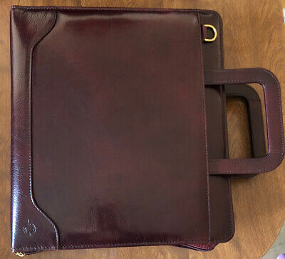 Franklin Covey Quest 7 Ring Binder Planner Burgundy Leather Gently Used Large