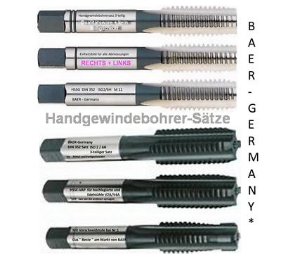 BAER Gewindebohrer Handgewindebohrer-Satz Gewindeschneider M1 - M20 zur Auswahl
