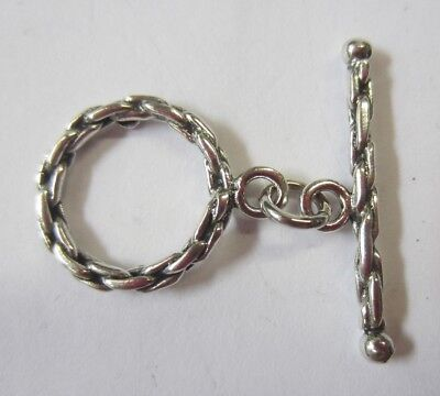 14.5mm 925 Sterling Silver Ring Bar Toggle Clasp Rope Wheat Style Toggle (Style Sterling Silver Clasp)