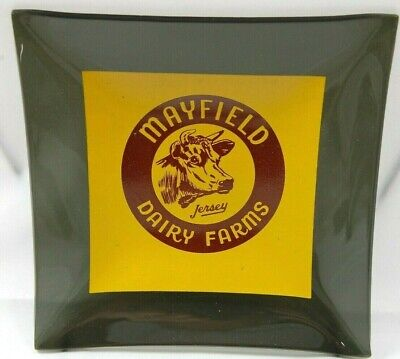 Vintage Mayfield Dairy Farms Glass Ashtray Unused in Excellent Condition