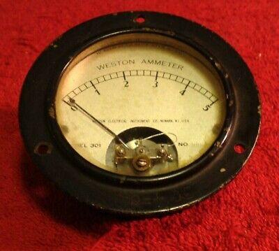 Vintage Weston Electrical Ammeter Gauge 0-5 Model 301 Glass Face Steam Punk