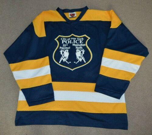 NYPD 33rd Precinct Manhattan North Game Worn Used Hockey Jersey XL NYC