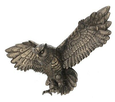 """21.5"""" Flying Steampunk Owl Wall Plaque Fantasy Home Decor Statue Sculpture"""