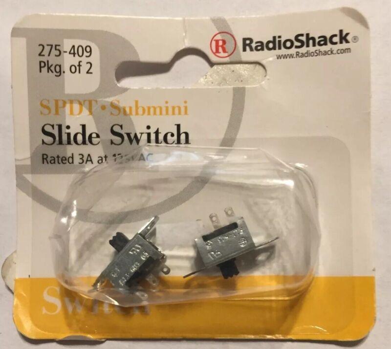 RadioShack 275-409 SPDT Submini Slide Switch ~ 2/PK ~ 3A at 125VAC