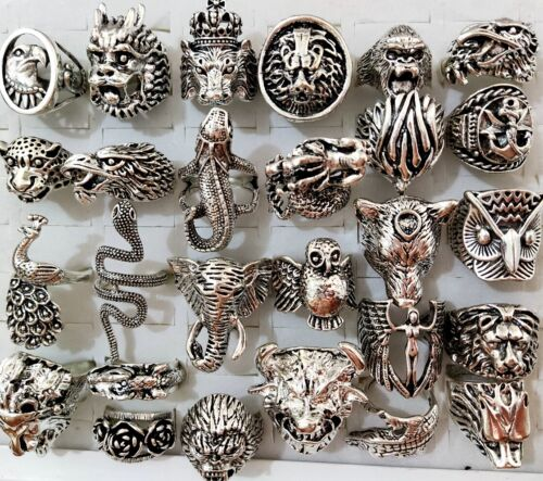 20pcs Exaggerated Ferocious Animal Biker Rock Ring Man Gift Cool Jewelry