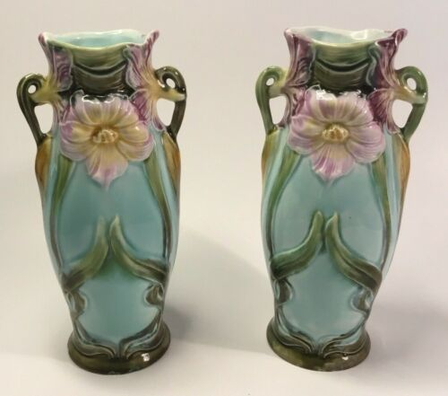 Antique Bohemian Matched Set / Pair of Jugendstill Vases from Viennna c.1880s