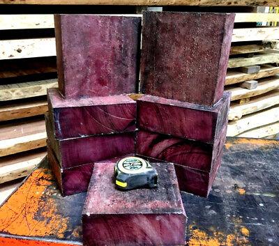 One Beautiful Exotic Purpleheart Bowl Blanks Wood Turning Lathe Lumber 6 X 6 X 2