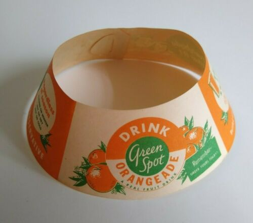 Orangade Fruit Drink Bottle Collar Green Spot Oranges Graphics Vintage NOS 1940s