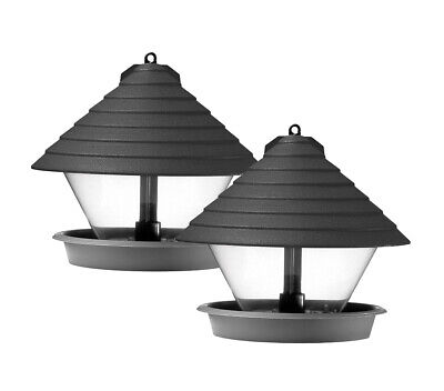 2 Stück Hammarplast Vogelfutterhaus schwarz 27cm Kunststoff rund Vogelhäuschen