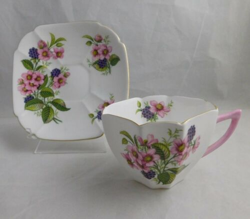 Shelley SQUARE CUP & SAUCER with FLOWERS Blackberry Bramble pattern #2353